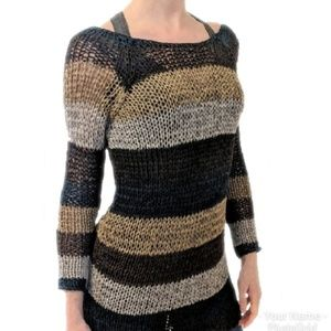 Theory Open Weave Knit Striped Sweater Neutral